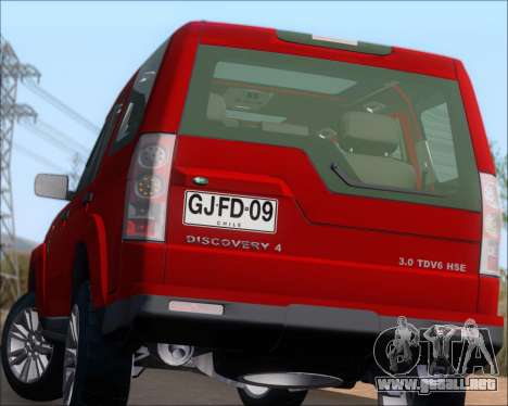 Land Rover Discovery 4 para vista inferior GTA San Andreas