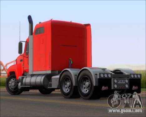Mack Pinnacle 2006 para GTA San Andreas vista posterior izquierda
