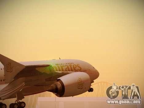 Airbus A380-800 Emirates para GTA San Andreas vista hacia atrás