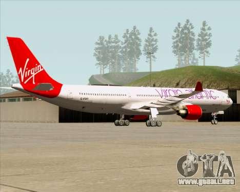 Airbus A330-300 Virgin Atlantic Airways para GTA San Andreas vista hacia atrás