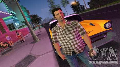 Kockas polo - barna T-Shirt para GTA Vice City segunda pantalla