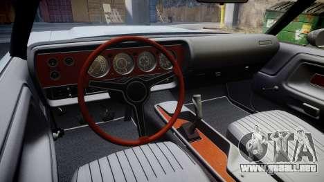 Dodge Challenger 1971 v2.2 PJ4 para GTA 4 vista hacia atrás