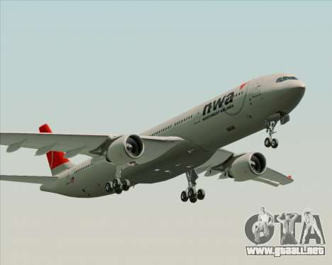 Airbus A330-300 Northwest Airlines para GTA San Andreas left