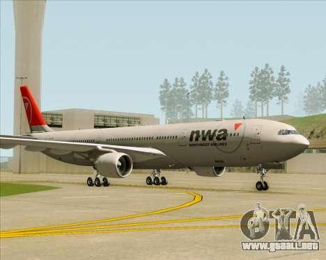 Airbus A330-300 Northwest Airlines para la visión correcta GTA San Andreas
