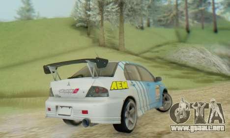 Mitsubishi Lancer Turkis Drift Aem para GTA San Andreas vista posterior izquierda