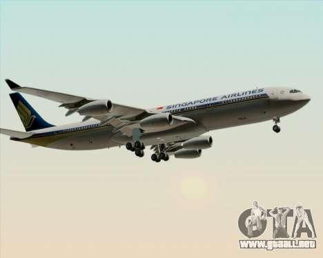 Airbus A340-313 Singapore Airlines para vista lateral GTA San Andreas