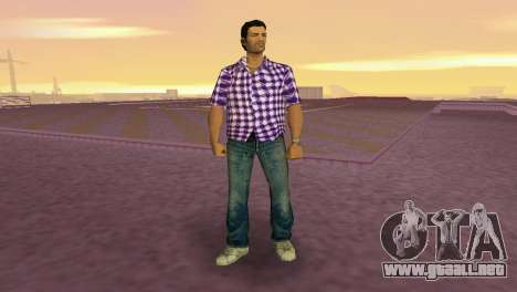 Kockas polo - lila T-Shirt para GTA Vice City segunda pantalla