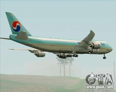 Boeing 747-8 Cargo Korean Air Cargo para vista inferior GTA San Andreas