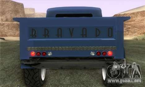 Bravado Duneloader Classic 1.0 (IVF) para GTA San Andreas vista posterior izquierda