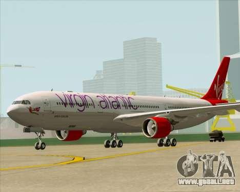 Airbus A330-300 Virgin Atlantic Airways para GTA San Andreas vista posterior izquierda