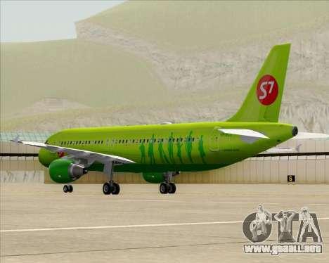 Airbus A320-214 S7-Siberia Airlines para GTA San Andreas vista posterior izquierda