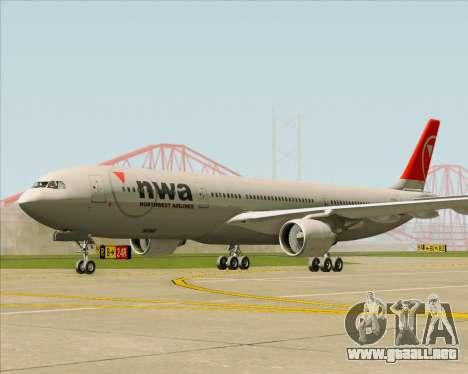 Airbus A330-300 Northwest Airlines para GTA San Andreas vista posterior izquierda
