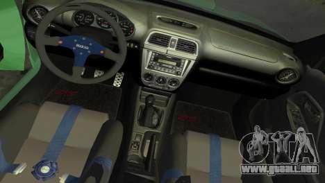 Subaru Impreza WRX 2002 Type 3 para GTA Vice City vista lateral