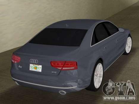 Audi A8 2010 W12 Rim1 para GTA Vice City visión correcta