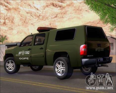 Chevrolet Silverado Gope para GTA San Andreas vista posterior izquierda