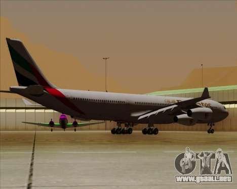 Airbus A340-313 Emirates para GTA San Andreas vista hacia atrás