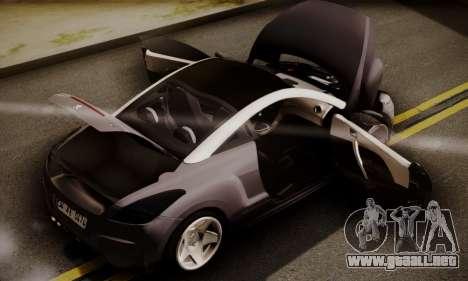 Peugeot RCZ para GTA San Andreas vista hacia atrás