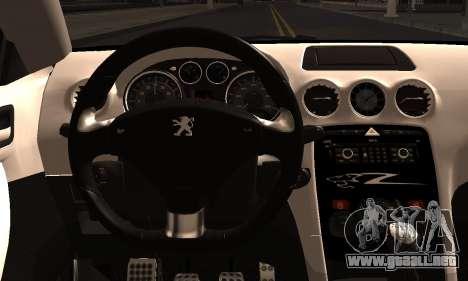 Peugeot RCZ para GTA San Andreas vista posterior izquierda