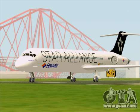 McDonnell Douglas MD-82 Spanair para GTA San Andreas vista hacia atrás