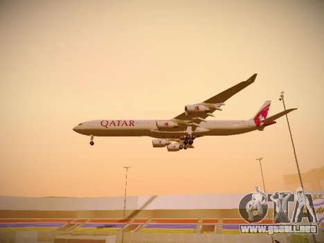 Airbus A340-600 Qatar Airways para vista inferior GTA San Andreas