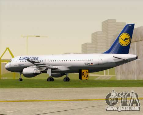 Airbus A320-211 Lufthansa para GTA San Andreas vista posterior izquierda