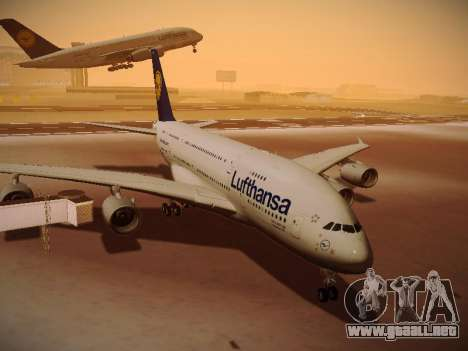 Airbus A380-800 Lufthansa para GTA San Andreas left