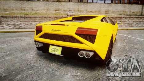 Lamborghini Gallardo 2013 Honoka Kousaka para GTA 4 Vista posterior izquierda