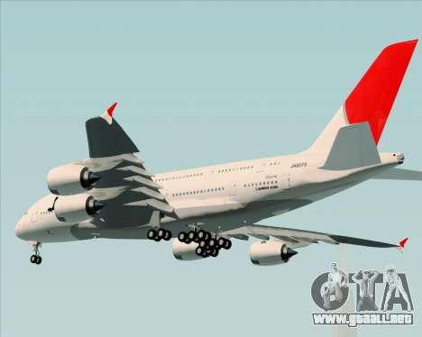 Airbus A380-800 Japan Airlines (JAL) para GTA San Andreas vista hacia atrás