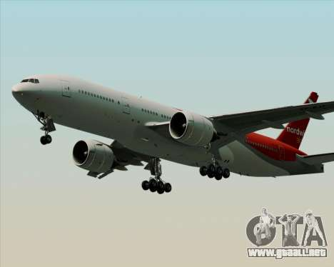 Boeing 777-21BER Nordwind Airlines para vista lateral GTA San Andreas