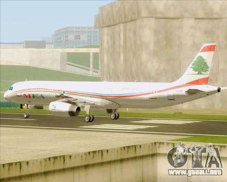 Airbus A321-200 Middle East Airlines (MEA) para GTA San Andreas vista hacia atrás