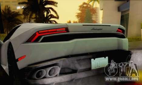 Lamborghini Huracan 2014 para GTA San Andreas vista posterior izquierda