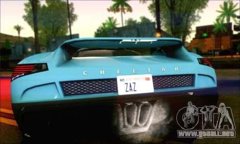 Grotti Cheetah (IVF) para GTA San Andreas vista posterior izquierda