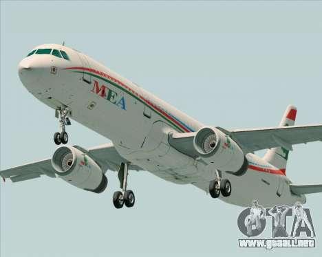 Airbus A321-200 Middle East Airlines (MEA) para visión interna GTA San Andreas
