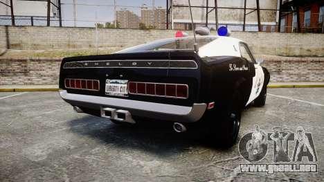 Shelby GT500 428CJ CobraJet 1969 Police para GTA 4 Vista posterior izquierda