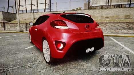 Hyundai Veloster Turbo 2012 para GTA 4 Vista posterior izquierda