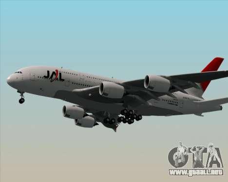 Airbus A380-800 Japan Airlines (JAL) para GTA San Andreas vista posterior izquierda