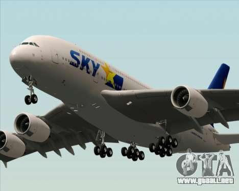 Airbus A380-800 Skymark Airlines para GTA San Andreas vista posterior izquierda