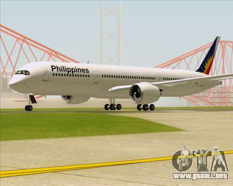 Airbus A350-900 Philippine Airlines para GTA San Andreas vista posterior izquierda