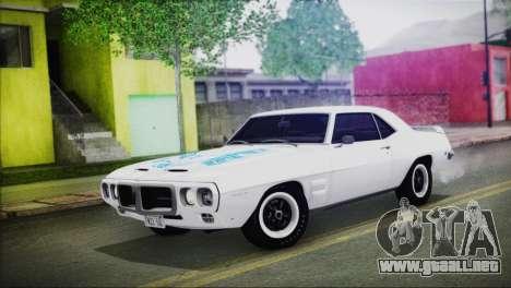 Pontiac Firebird Trans Am Coupe (2337) 1969 para vista inferior GTA San Andreas