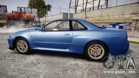 Nissan Skyline R-34 V-spec para GTA 4 left