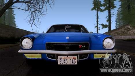 Chevrolet Camaro Z28 1970 (ImVehFt) para GTA San Andreas vista hacia atrás