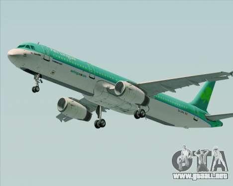 Airbus A321-200 Aer Lingus para GTA San Andreas vista posterior izquierda