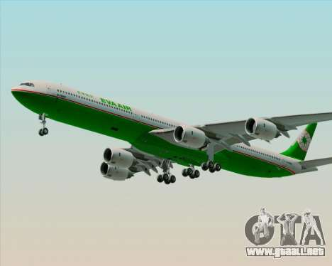 Airbus A340-600 EVA Air para vista inferior GTA San Andreas