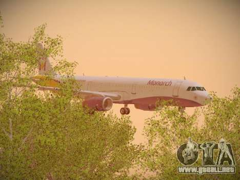 Airbus A321-232 Monarch Airlines para vista lateral GTA San Andreas