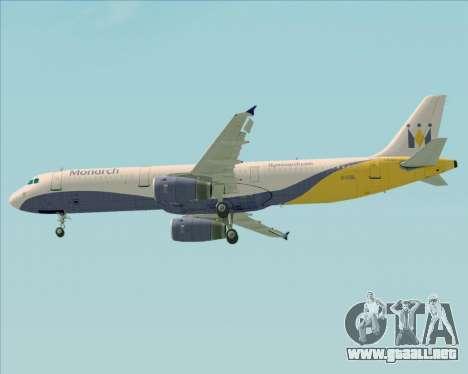 Airbus A321-200 Monarch Airlines para las ruedas de GTA San Andreas