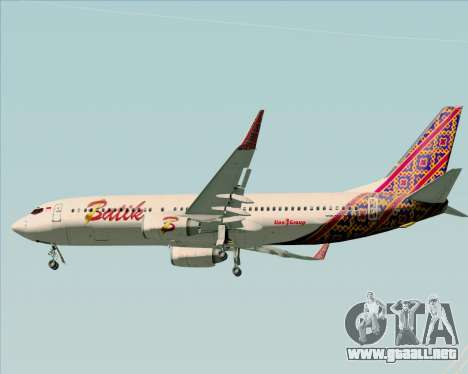 Boeing 737-800 Batik Air para vista inferior GTA San Andreas