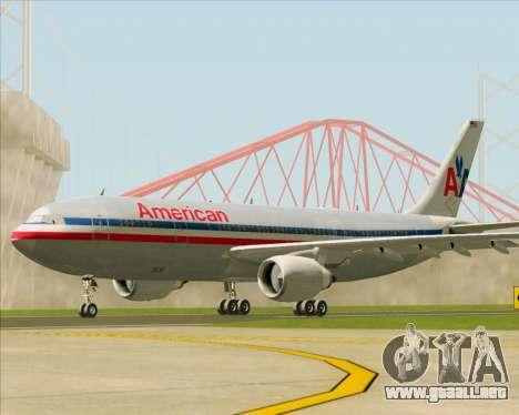 Airbus A300-600 American Airlines para GTA San Andreas vista posterior izquierda