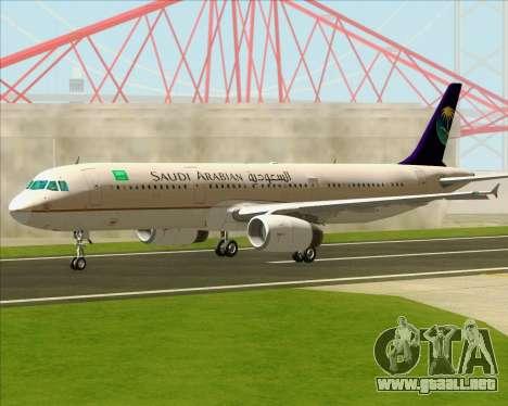 Airbus A321-200 Saudi Arabian Airlines para visión interna GTA San Andreas