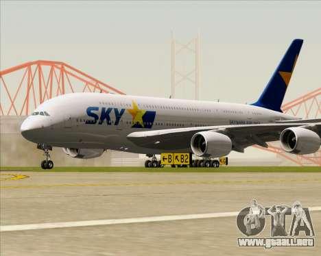 Airbus A380-800 Skymark Airlines para GTA San Andreas left