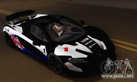 McLaren P1 Black Revel para visión interna GTA San Andreas